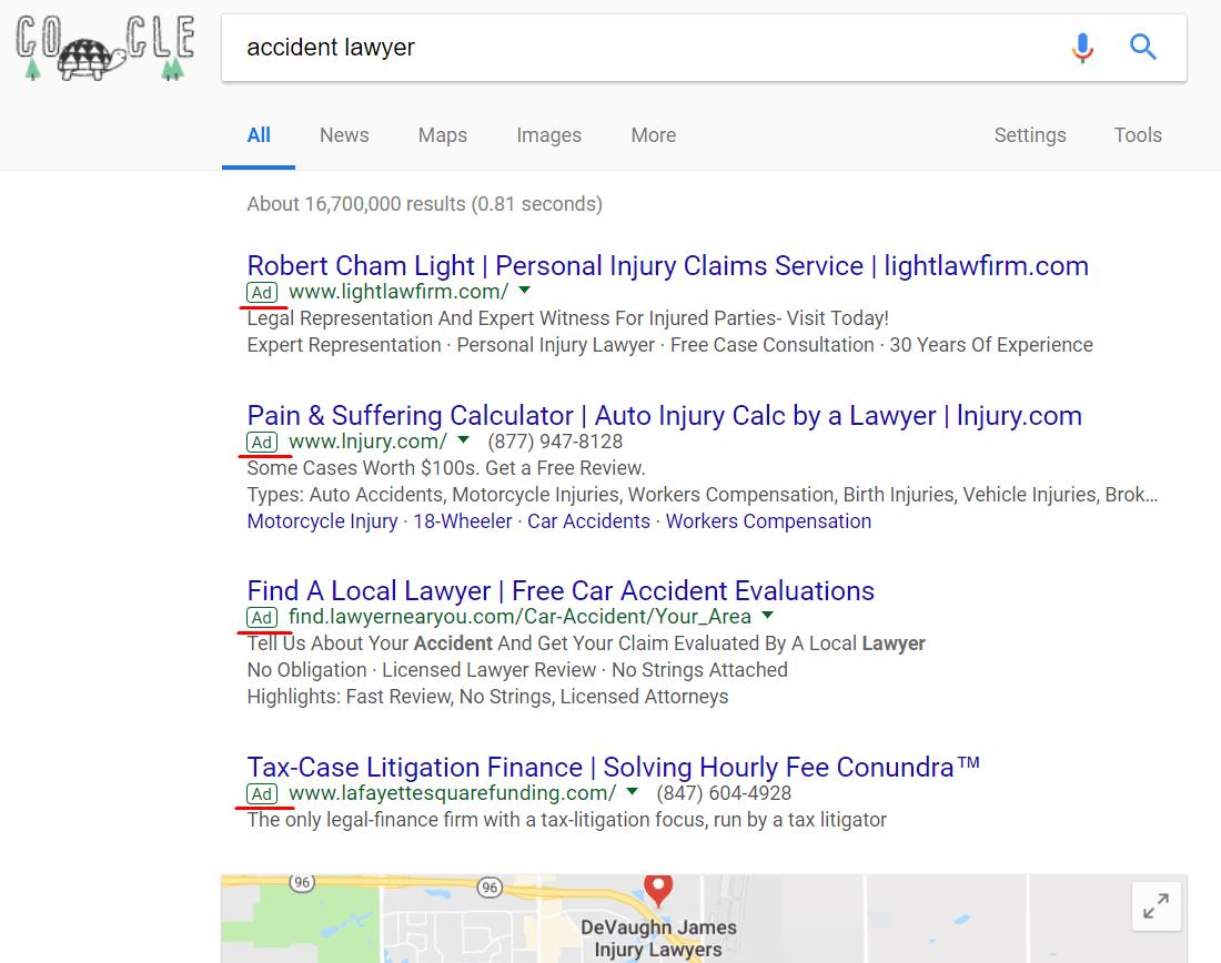 Поисковая выдача по запросу accident lawyer
