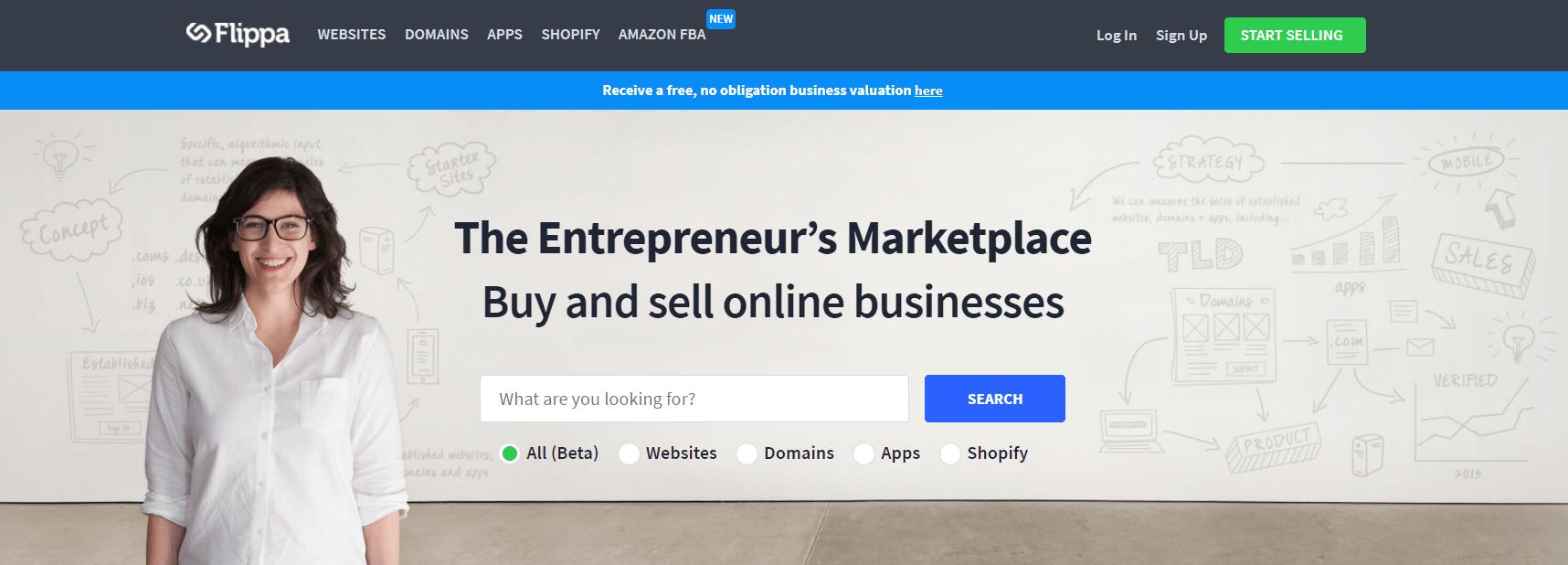 Онлайн-сервис Flippa