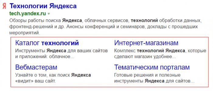 Быстрые ссылки в поиске Яндекс