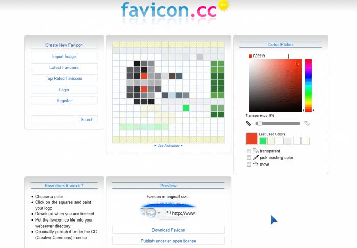 Онлайн-редактор для создания фавикона