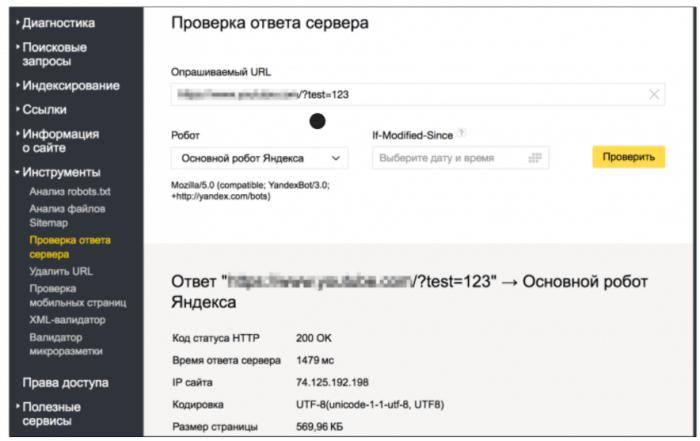 """Раздел """"Проверка ответа сервера"""" в Яндекс.Вебмастер"""