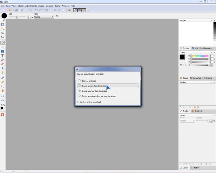 Создание нового рисунка в IconFX