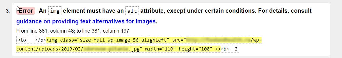 Отсутствие атрибута alt у изображения