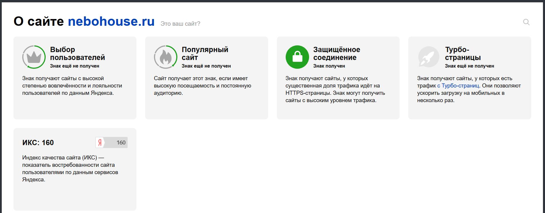 Развернутая информация о сайте Nebohouse.ru