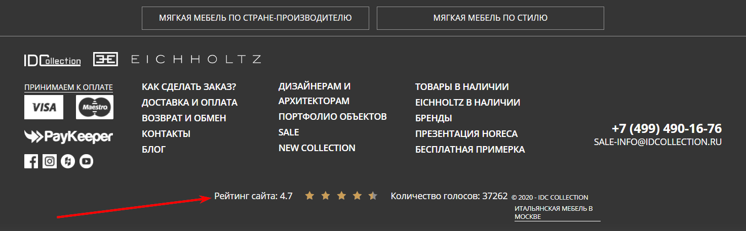 Рейтинг сайта в футер