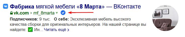 Сниппет подтвержденного профиля компании в ВКонтакте