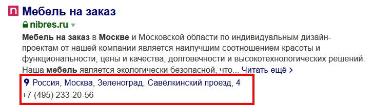 Сниппет с контактами проекта Nibres.ru