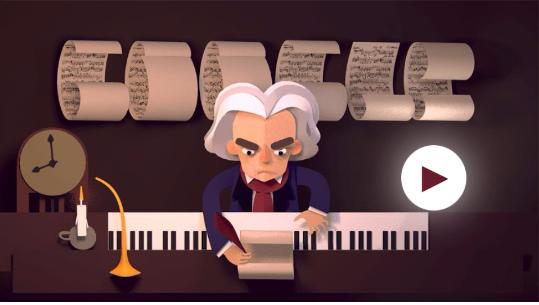 """Дудл """"245 лет со дня рождения Людвига ван Бетховена (2015)"""""""